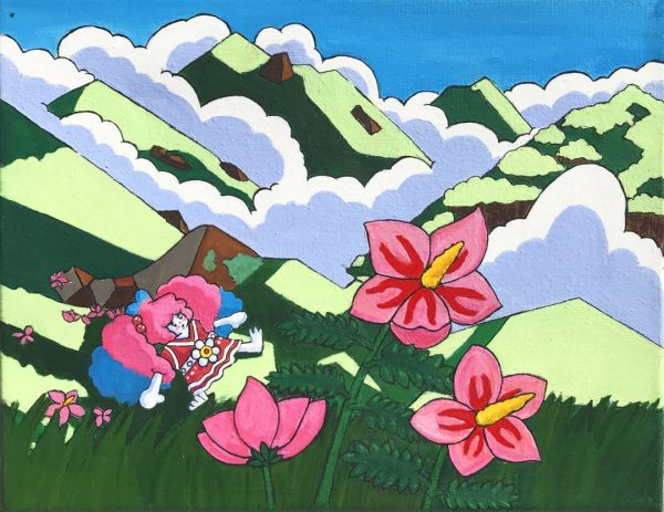 pink lilies and Ponzu character in the mountains contemporary comic art
