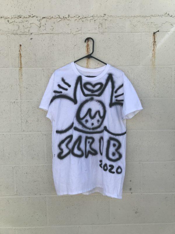 White hand-sprayed graffiti Scrib 2020