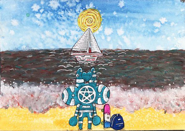 beach scene with sail boat contemporary art