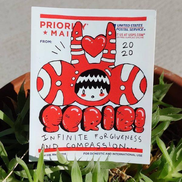USPS postage stick art vinyl sticker